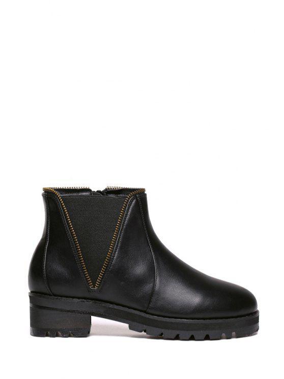 lady Black Platform Zipper Ankle Boots - BLACK 35