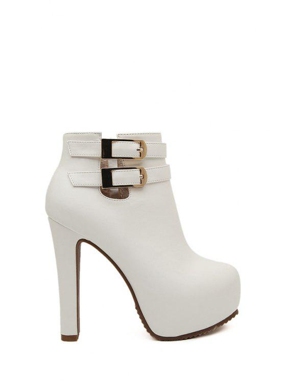 outfit Buckles Solid Color Zipper High Heel Boots - WHITE 34