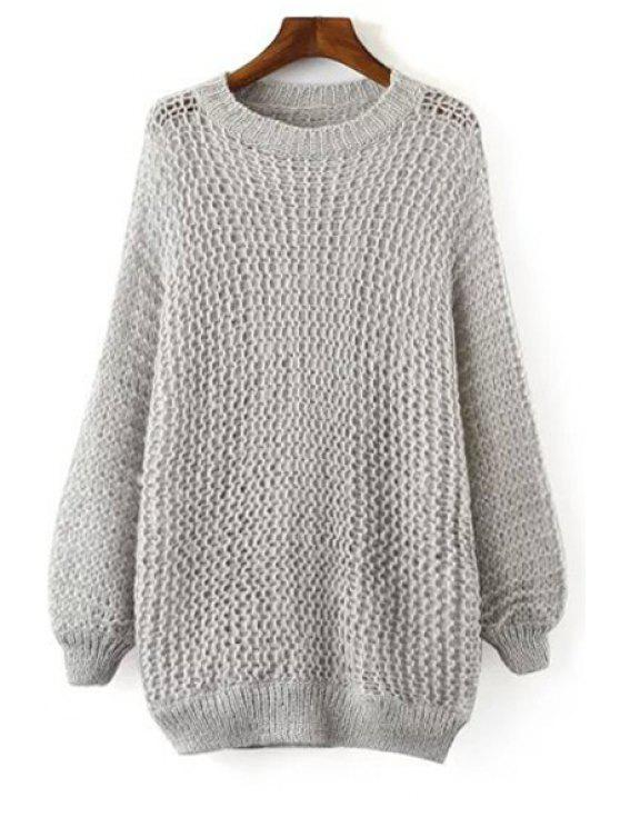 ladies Round Collar Pure Color Jumper - GRAY ONE SIZE(FIT SIZE XS TO M)