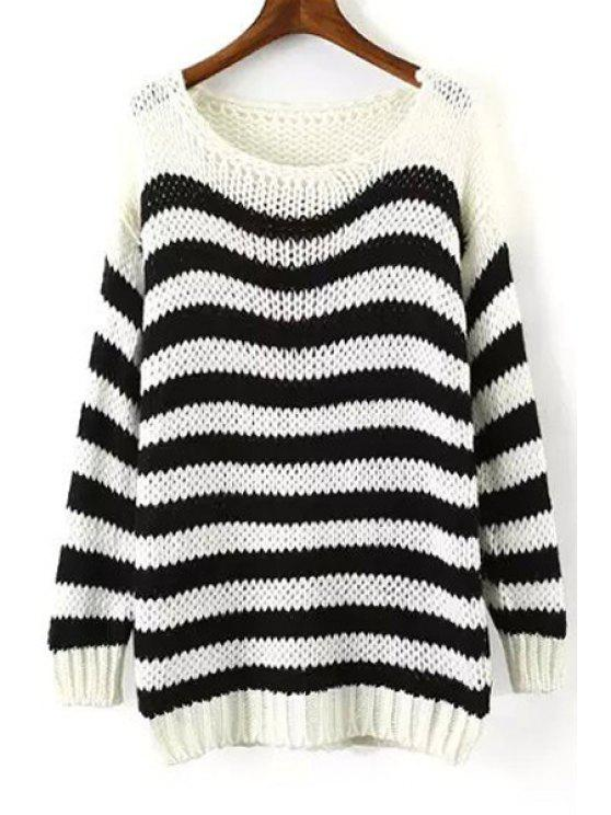 hot Long Sleeve Stripe Jumper - WHITE AND BLACK ONE SIZE(FIT SIZE XS TO M)