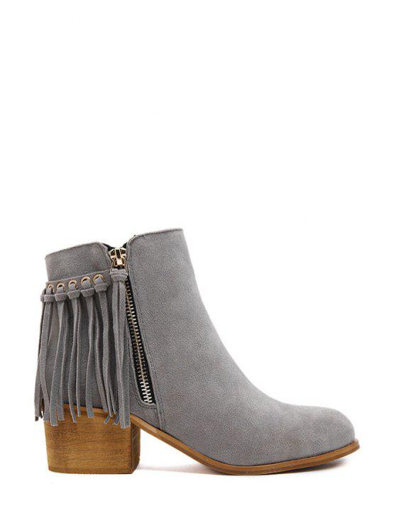 affordable Tassel Solid Color Suede Ankle Boots - GRAY 36