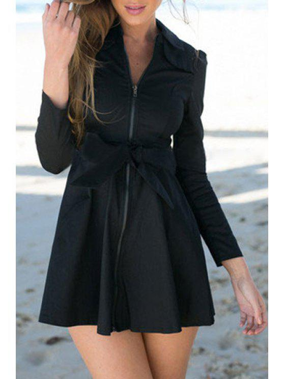 hot Bowknot Turn Down Collar Long Sleeve Trench Coat - BLACK M