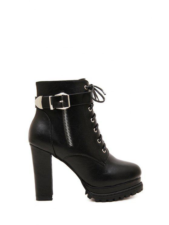 women's Lace-Up Zipper Black High Heel Boots - BLACK 35
