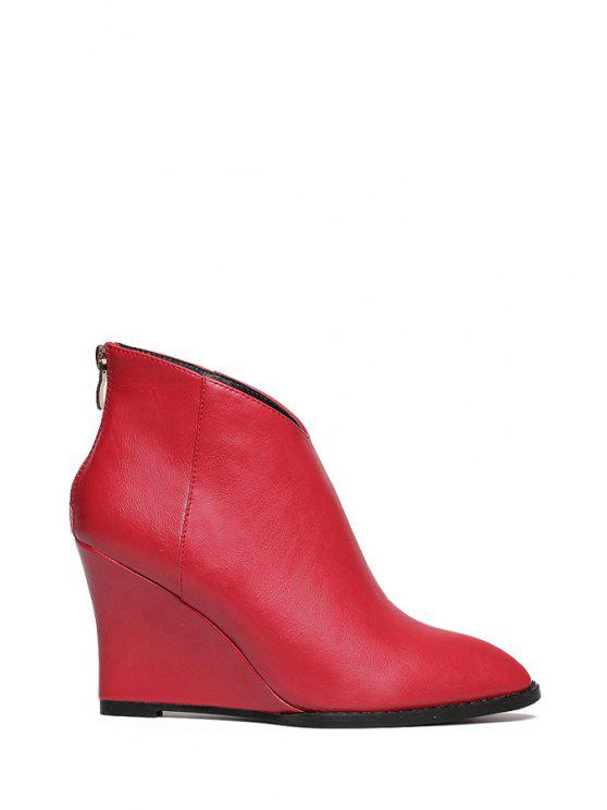 sale Wedge Heel Zipper Solid Color Short Boots - RED 34