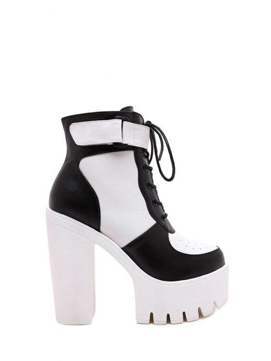 eff9e52e0f 40% OFF] 2019 Color Matching Lace-Up High Heel Boots In WHITE AND ...