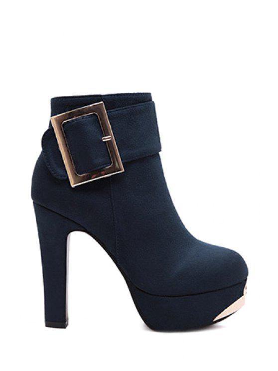 best Metallic Buckle Suede Platform High Heel Boots - DEEP BLUE 34
