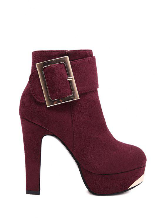 lady Metallic Buckle Suede Platform High Heel Boots - WINE RED 39