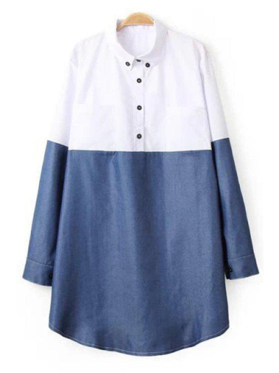 trendy Long Sleeve Hit Color Shirt Dress - WHITE ONE SIZE(FIT SIZE XS TO M)