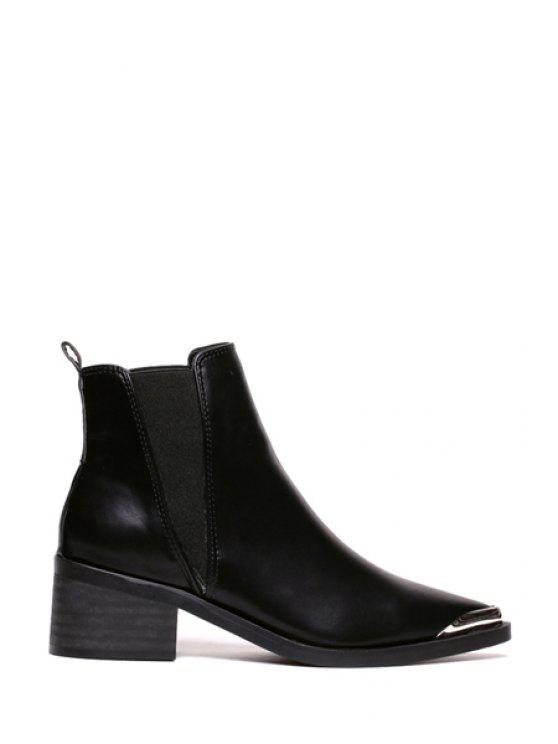 best Metallic Toe Elastic Solid Color Ankle Boots - BLACK 35