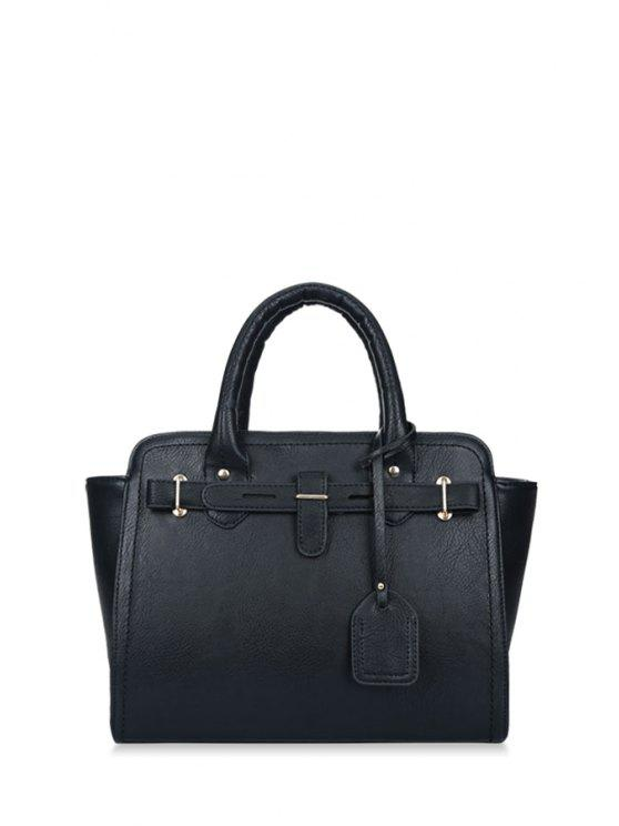 affordable Stitching Solid Color Pendant Tote Bag - BLACK