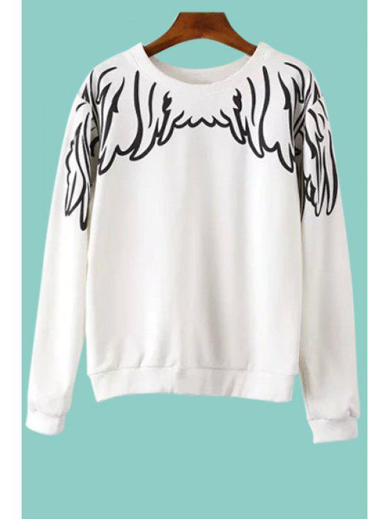 lady Long Sleeve Wing Print Sweatshirt - WHITE S