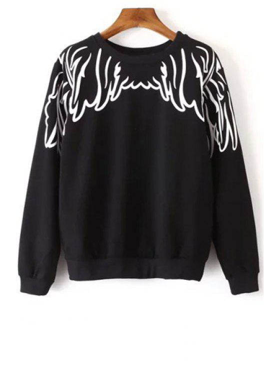 hot Long Sleeve Wing Print Sweatshirt - BLACK M