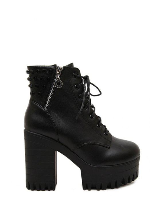 fashion Black Metal Lace-Up High Heel Boots - BLACK 35