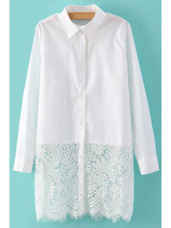 buy White Lacework Spliced Flat Collor Long Sleeves Shirt - WHITE M