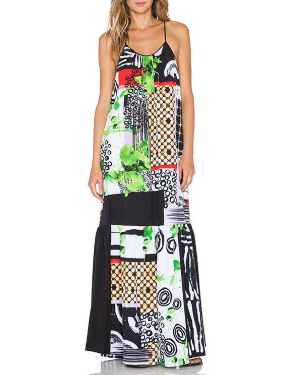 latest Leaf Print Cami Maxi Dress - AS THE PICTURE S