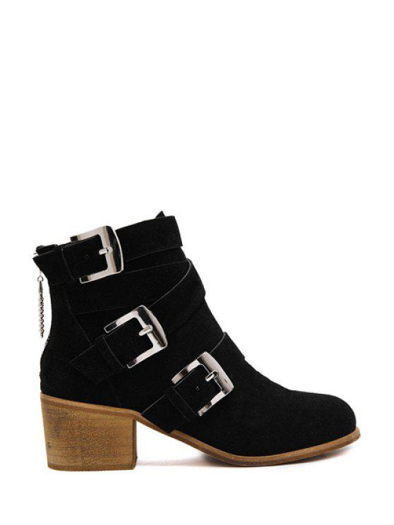 hot Cross Straps Buckles Suede Ankle Boots - BLACK 35