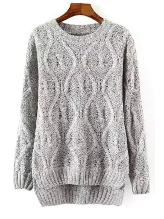 chic Cable Knit High Low Sweater - GRAY ONE SIZE(FIT SIZE XS TO M)