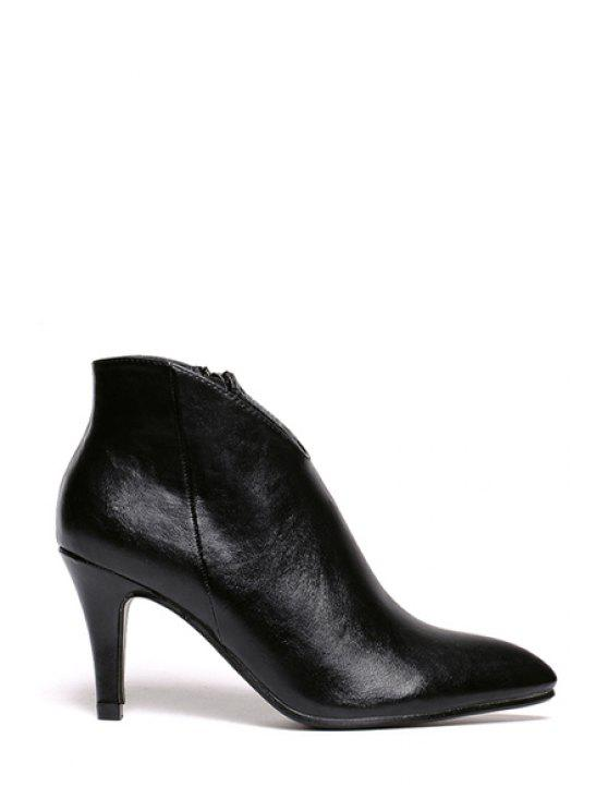 womens Stiletto Zipper Pointed Toe Ankle Boots - BLACK 34