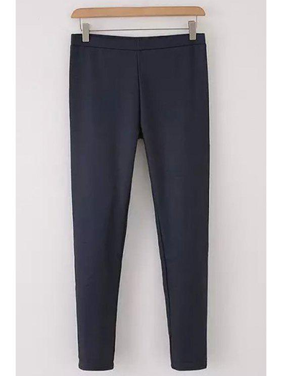 online Narrow Feet Solid Color Slimming Elastic Pants - CADETBLUE XL