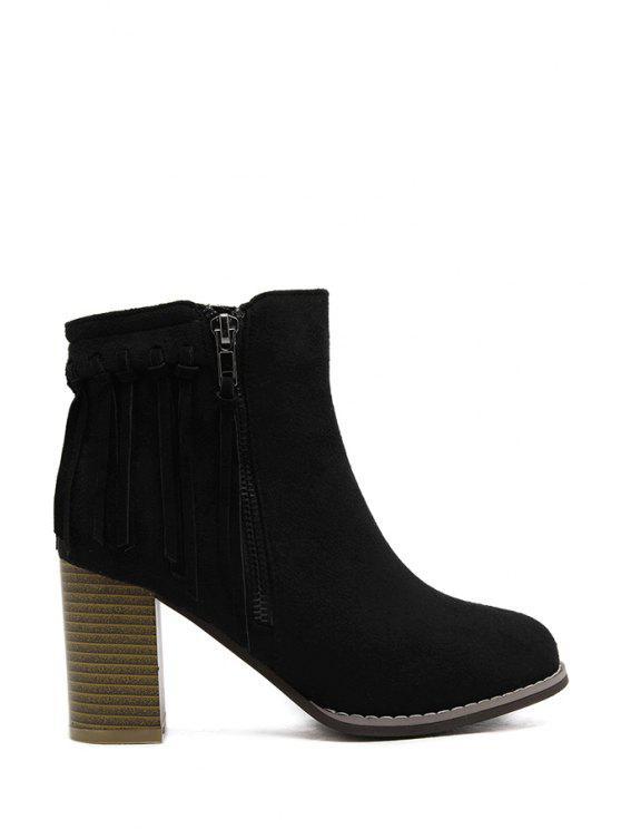 chic Tassel Solid Color Suede Short Boots - BLACK 34