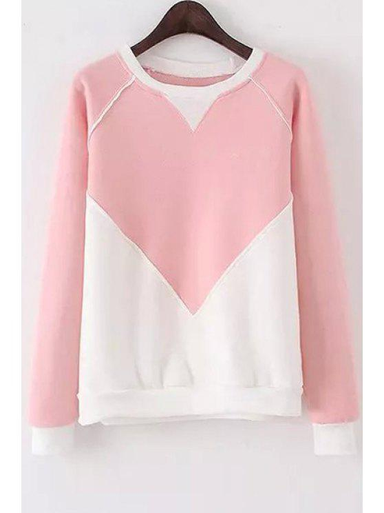 lady Color Block Round Collor Long Sleeves Sweatshirt - PINK ONE SIZE(FIT SIZE XS TO M)