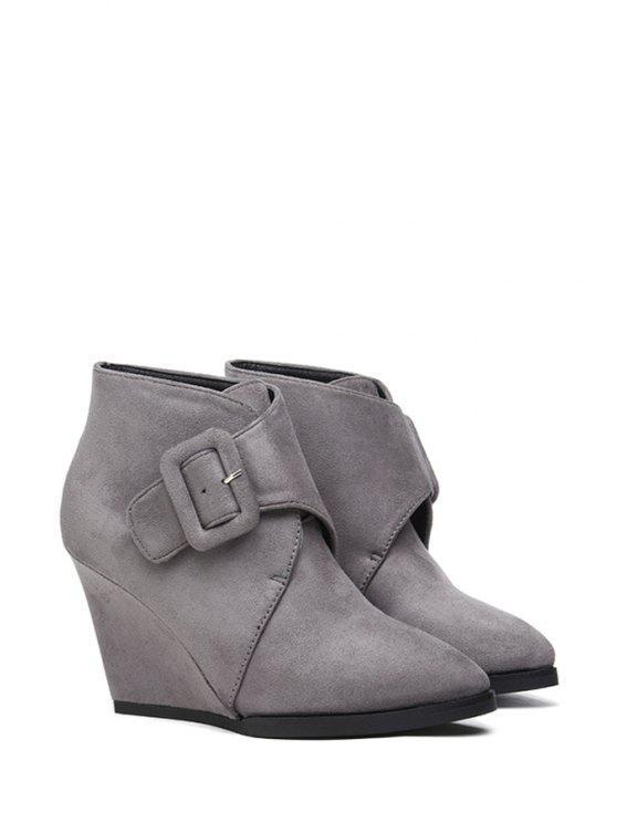 womens Buckle Suede Wedge Heel Short Boots - GRAY 35