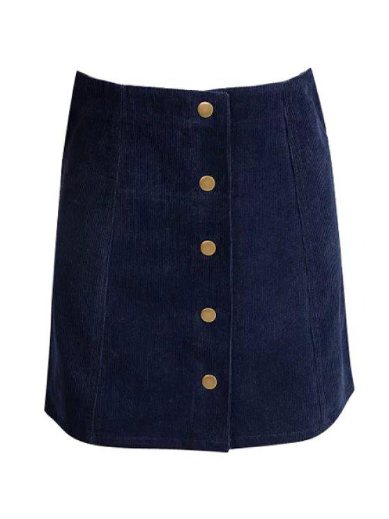 online Solid Color High Waisted Corduroy Skirt - CADETBLUE S