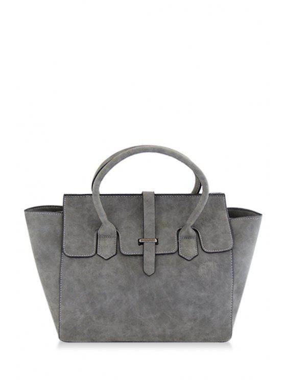 sale Stitching Solid Color PU Leather Tote Bag - GRAY