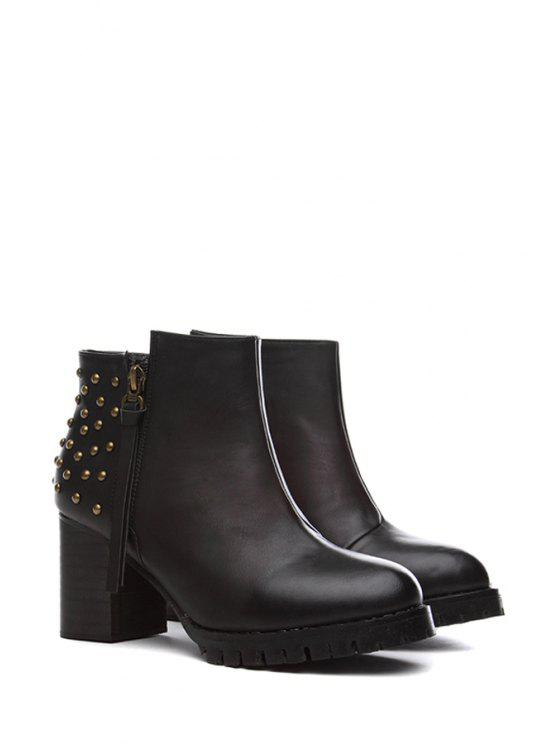 outfits Tassel Solid Color Rivets Short Boots - BLACK 35