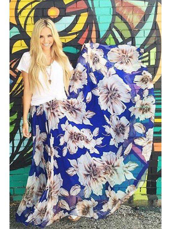 buy Flower Print A Line Maxi Skirt - BLUE AND WHITE S