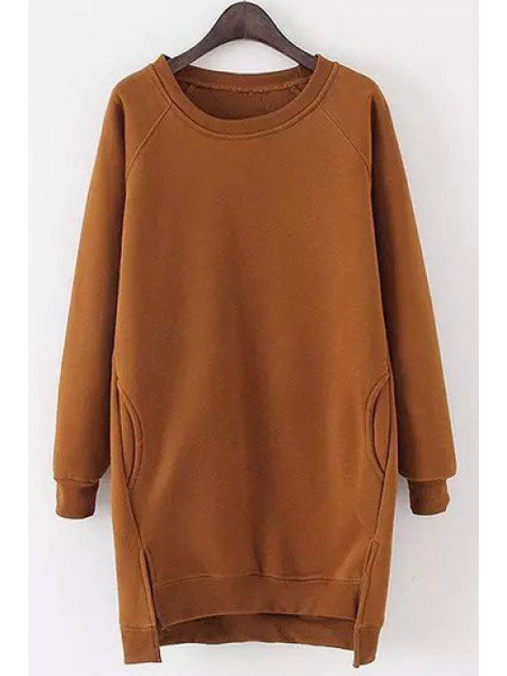 best Solid Color Long Sleeves Side Slit Long Sweatshirt - KHAKI ONE SIZE(FIT SIZE XS TO M)