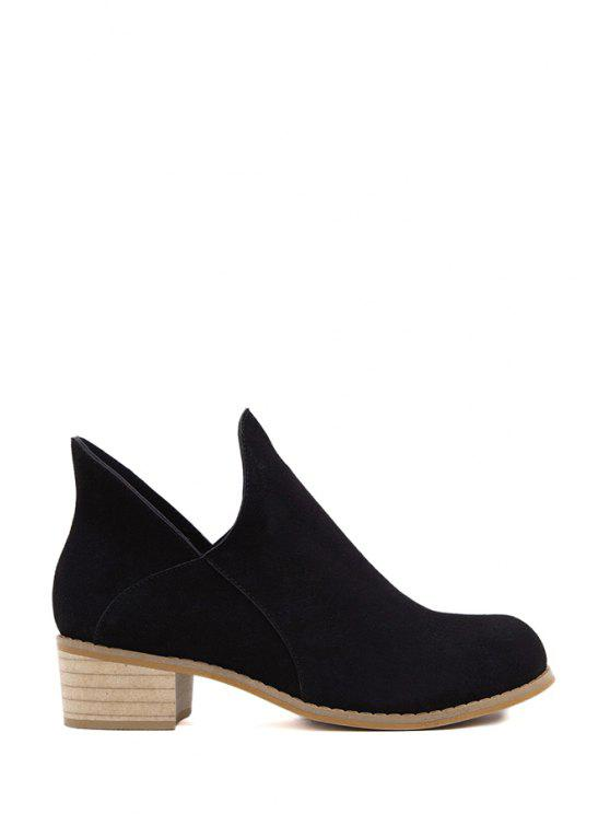 ladies Chunky Heel Round Toe Suede Short Boots - BLACK 35
