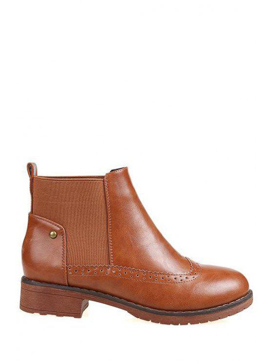 women's Engraving Elastic Solid Color Short Boots - LIGHT BROWN 35