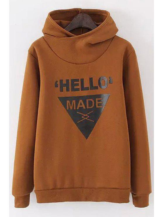 hot Letter Print Long Sleeves Thicken Hoodie - KHAKI ONE SIZE(FIT SIZE XS TO M)