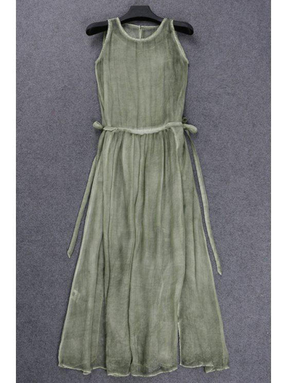 shops See-Through Silk Dress and Tank Top - GREEN S