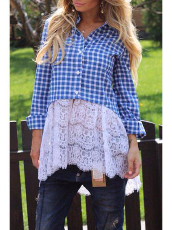 trendy Checked Spliced Shirt Neck Long Sleeve Shirt - BLUE S