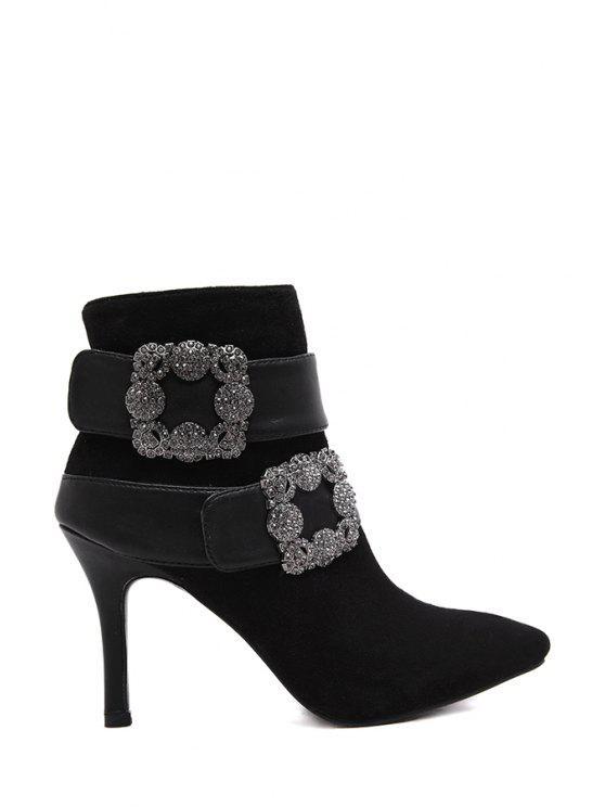 women Stiletto Zipper Rhinestones Short Boots - BLACK 35
