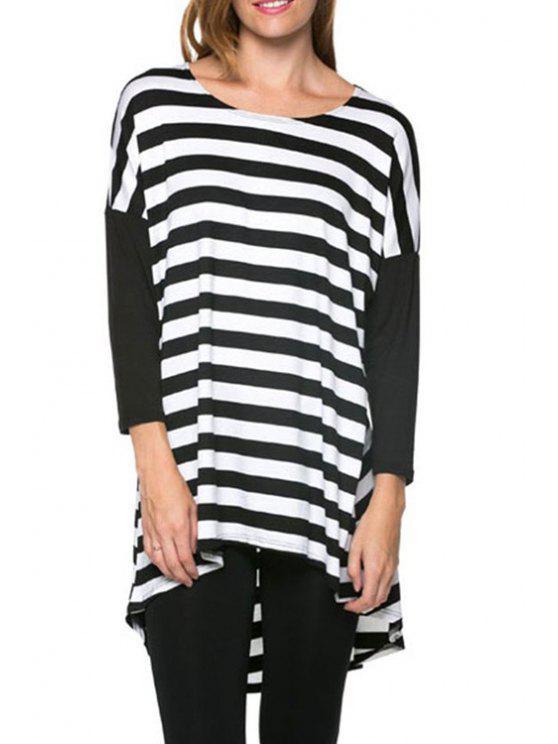 women Round Neck Striped Dovetail Dress - WHITE AND BLACK S