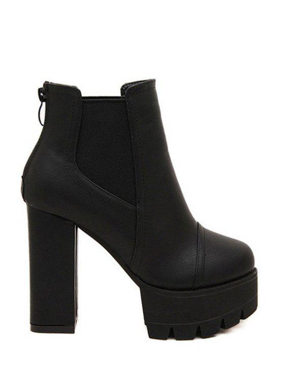 best Chunky Heel Platform Elastic Short Boots - BLACK 35