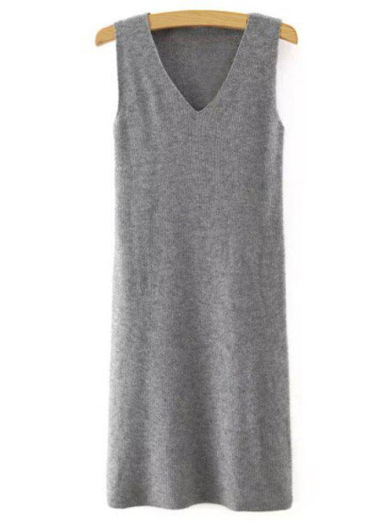 best Sleeveless Pure Color V-Neck Knitted Sweater Dress - GRAY M