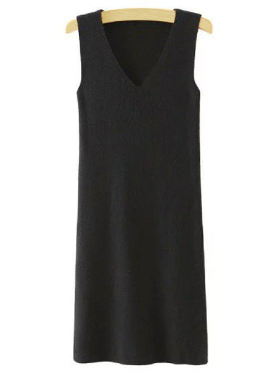 outfits Sleeveless Pure Color V-Neck Knitted Sweater Dress - BLACK L