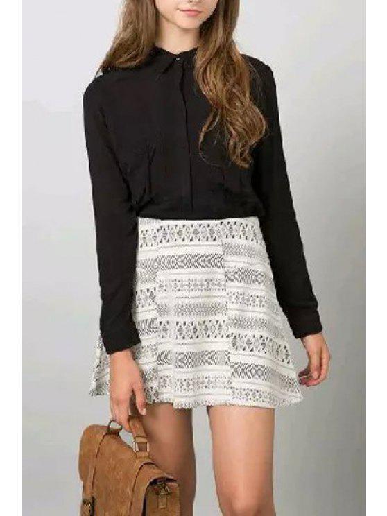 lady Double Pocket Shirt Neck Long Sleeve Shirt - BLACK S