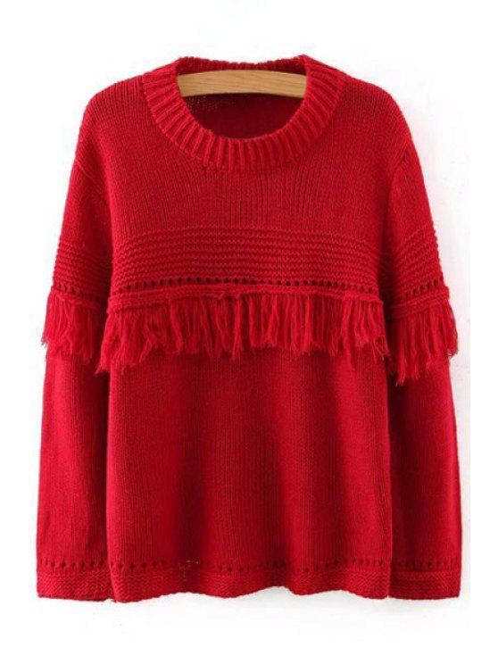 outfit Pure Color Round Collar Long Sleeves Fringes Pullover Sweater - RED M