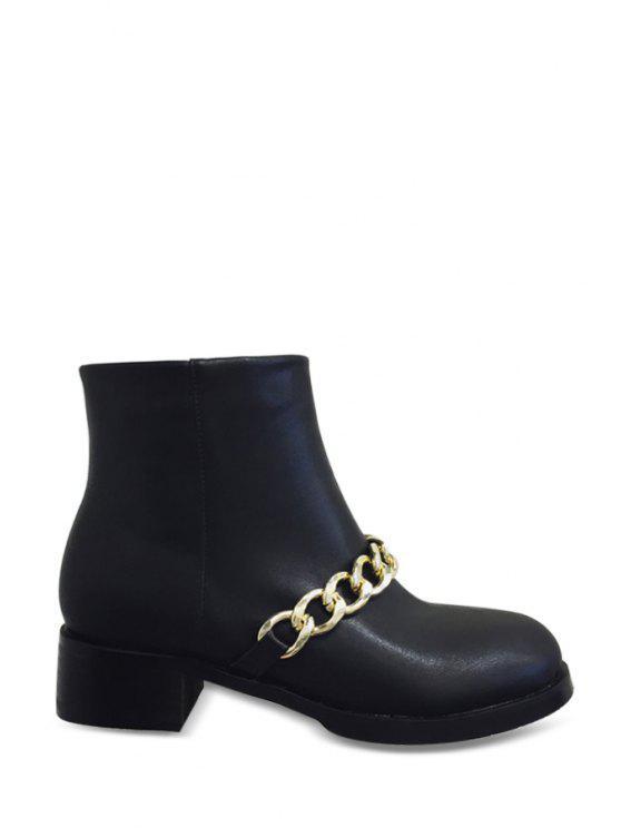 sale Chains Zipper Black Short Boots - BLACK 35