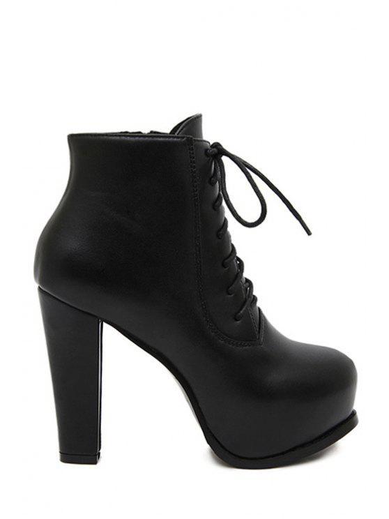 outfits Black Platform Chunky Heel Short Boots - BLACK 35