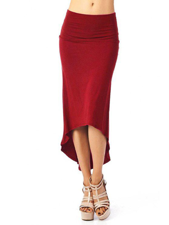 lady Packet Buttocks Solid Color Dovetail Skirt - WINE RED S