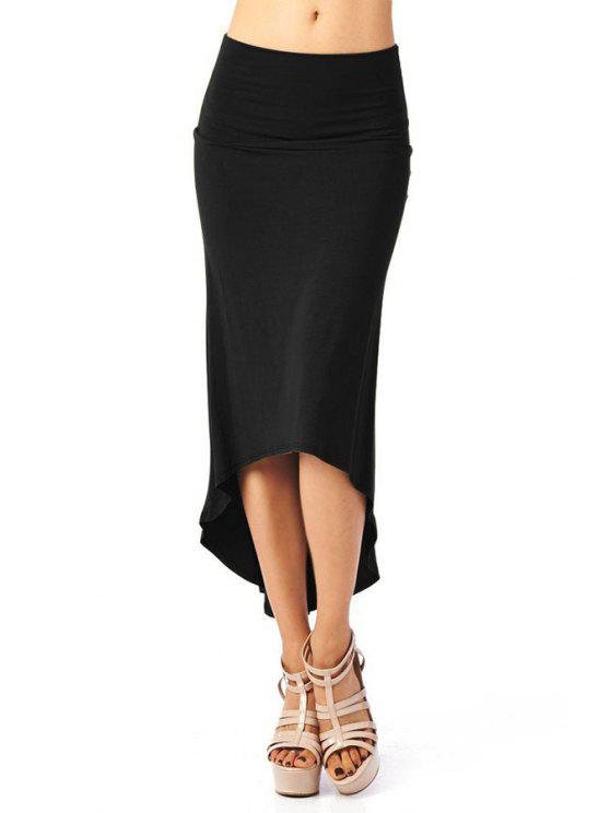 outfit Packet Buttocks Solid Color Dovetail Skirt - BLACK M