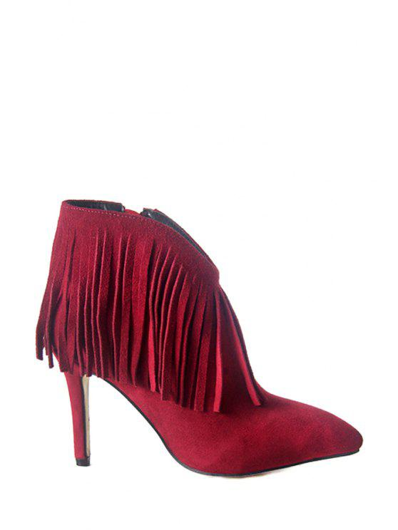 women's Fringe Solid Color Suede High Heel Boots - WINE RED 34