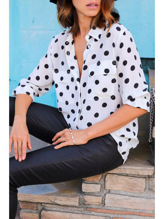 women's Two Pockets Polka Dot Shirt - WHITE S