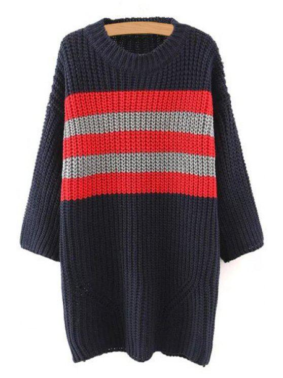 latest Color Block Long Sleeves Striped Pullover Sweater - CADETBLUE S